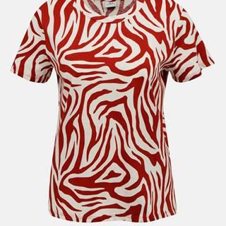 Krémovo-červené tričko so zebrím vzorom Jacqueline de Yong Diana