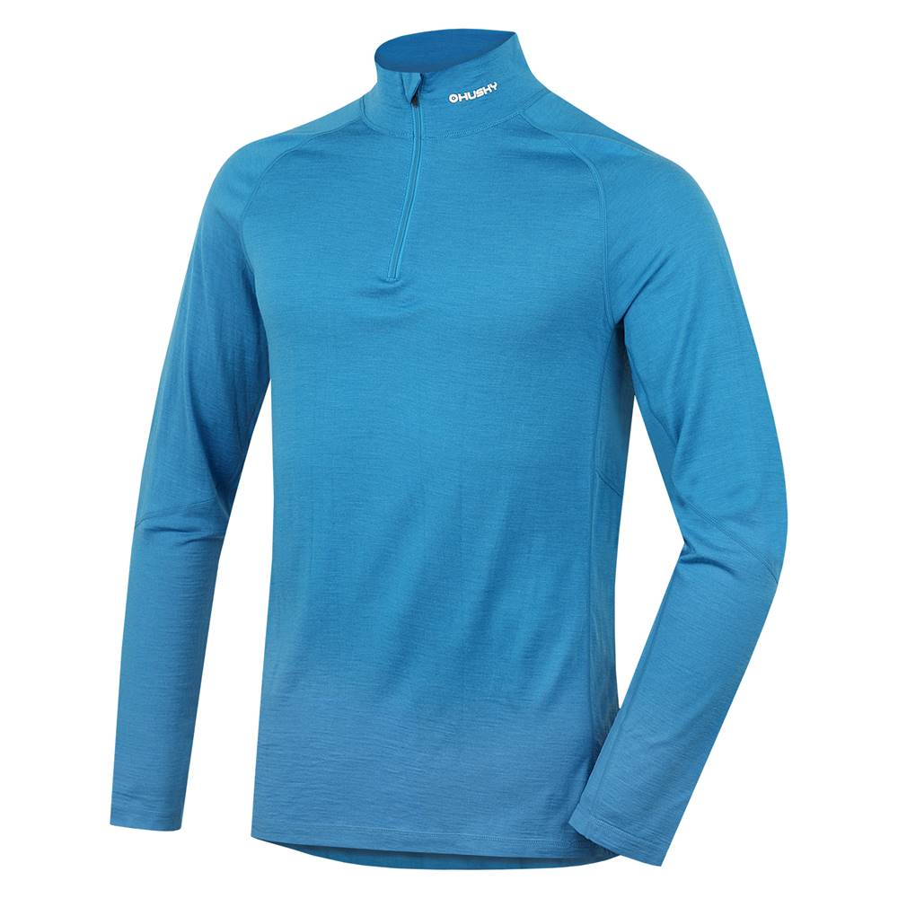 Husky Tričko dlhé pánske so zipsom modrá, XL Merino termoprádlo
