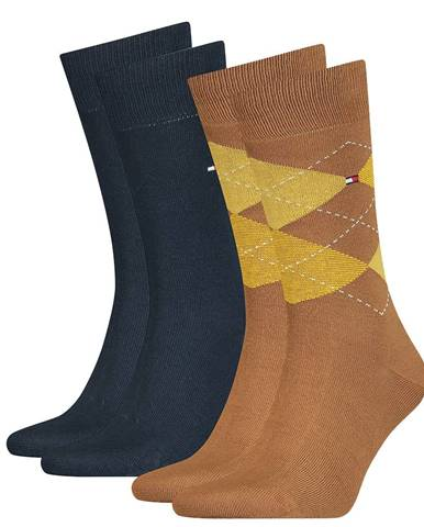 TOMMY HILFIGER - 2PACK check dark yellow ponožky -39-42