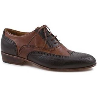 Derbie Leonardo Shoes  PINA 037 MORO/CUOIO
