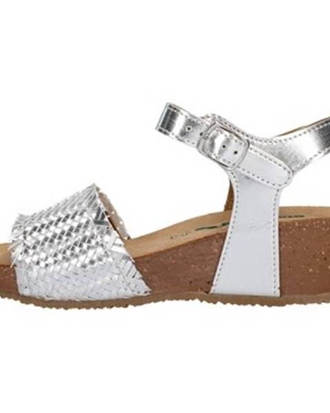 Strieborné sandále Bionatura