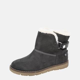 Šedé dámske zimné topánky v semišovej úprave Tom Tailor