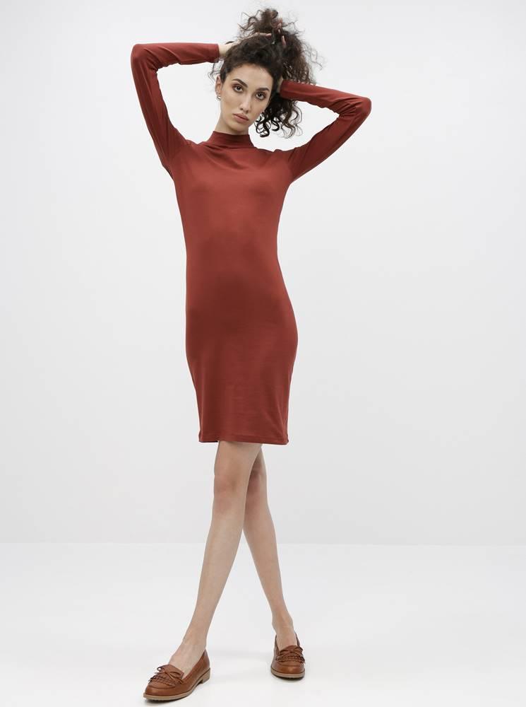 Jacqueline de Yong Hnedé basic šaty Jacqueline de Yong Yava