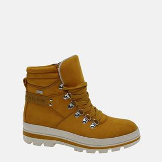 Žlté dámske zimné členkové topánky v semišovej úprave Tom Tailor