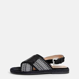 Čierne dámske sandále s flitrami Geox Kolleen