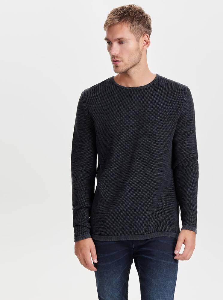ONLY & SONS Tmavosivý sveter s okrúhlym výstrihom ONLY & SONS Hugh