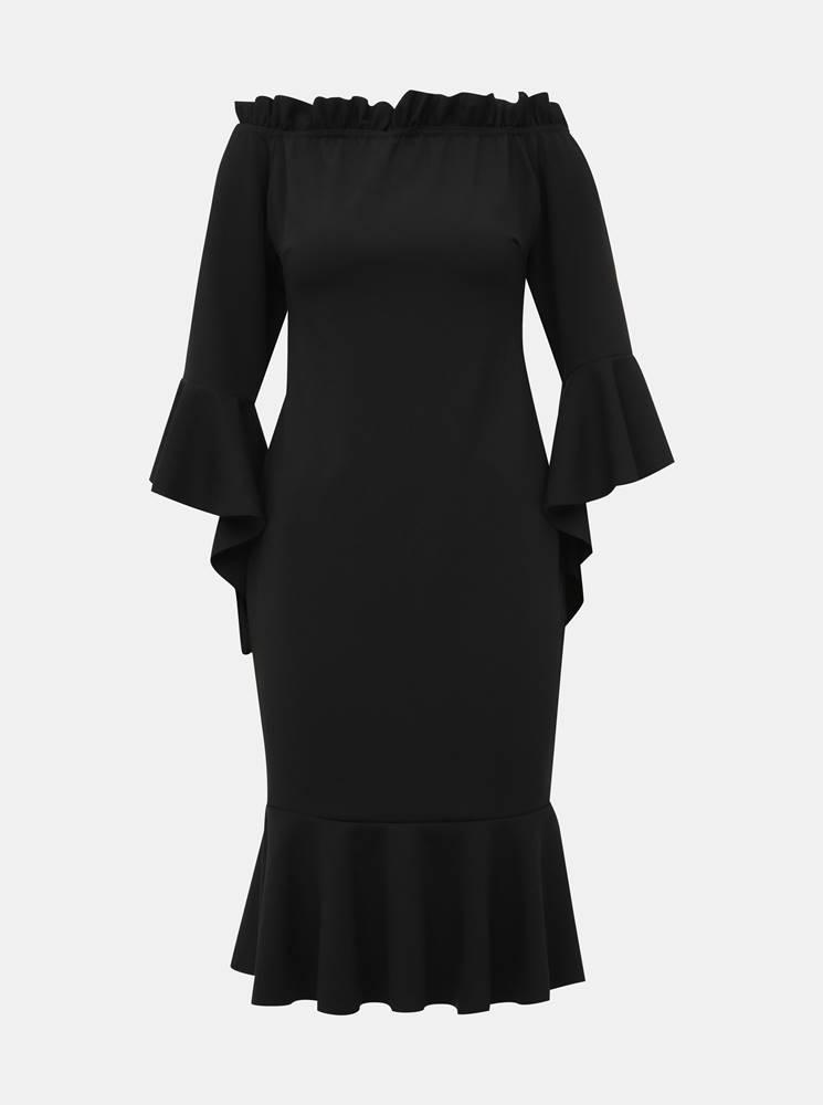Haily´s Čierne púzdrové šaty s volánmi Haily´s Joana