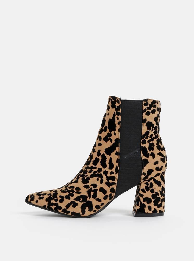 Dorothy Perkins Hnedé členkové topánky s gepardím vzorom Dorothy Perkins