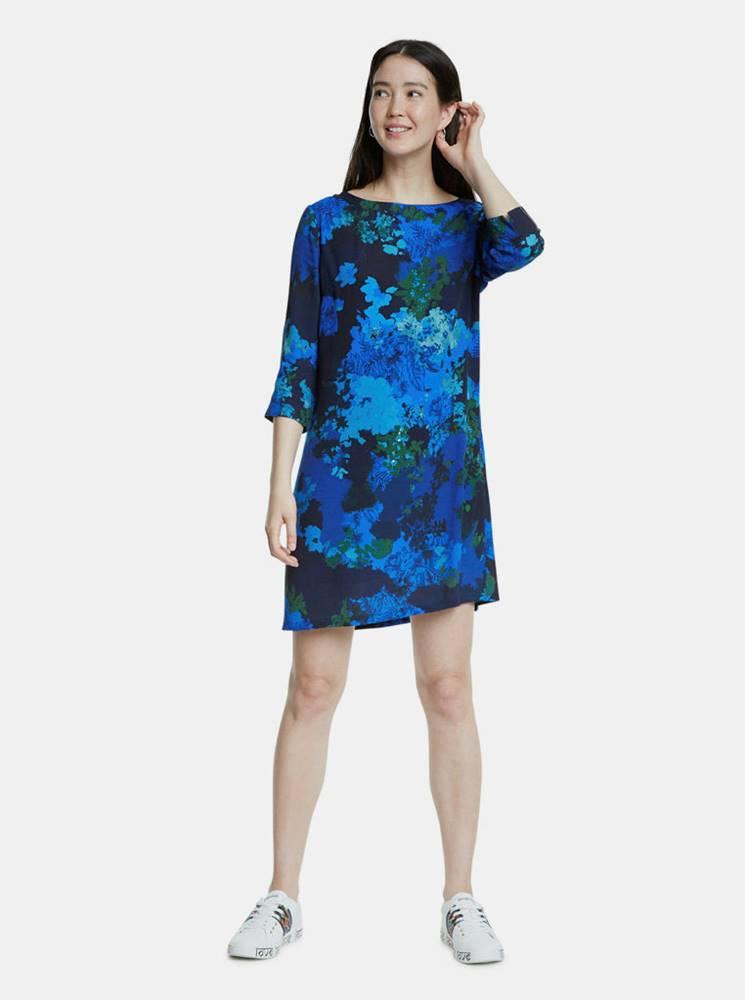 Desigual Modré vzorované šaty Desigual