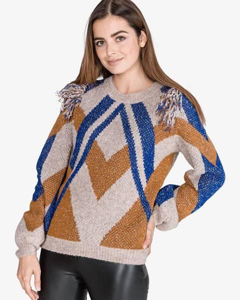 Sivý sveter s okrúhlym výstrihom Vila