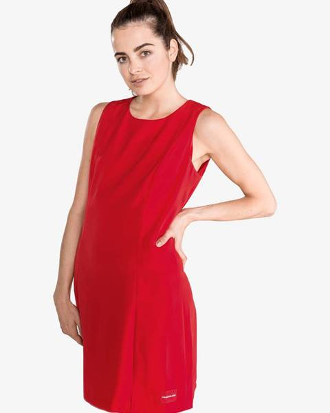 Červené midišaty Calvin Klein