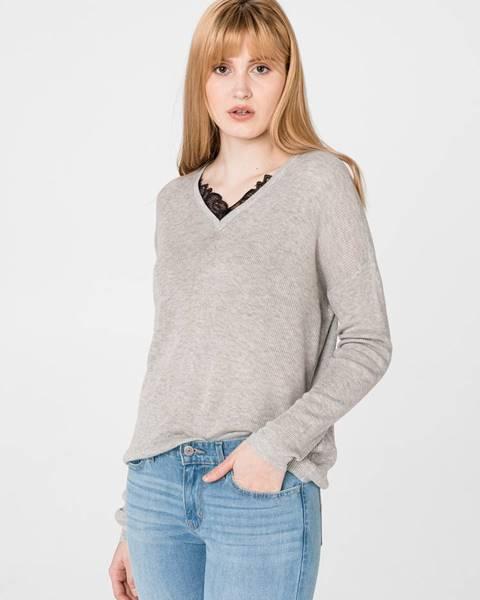 Sivý sveter s výstrihom do v Vero Moda