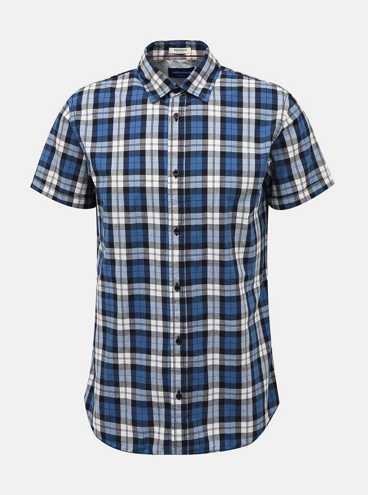 Jack & Jones Modrá kockovaná košeľa Jack & Jones Chad