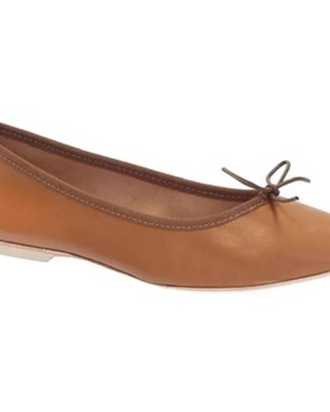 Hnedé balerínky Leonardo Shoes