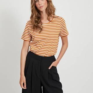Krémovo-hnedé pruhované basic tričko VILA