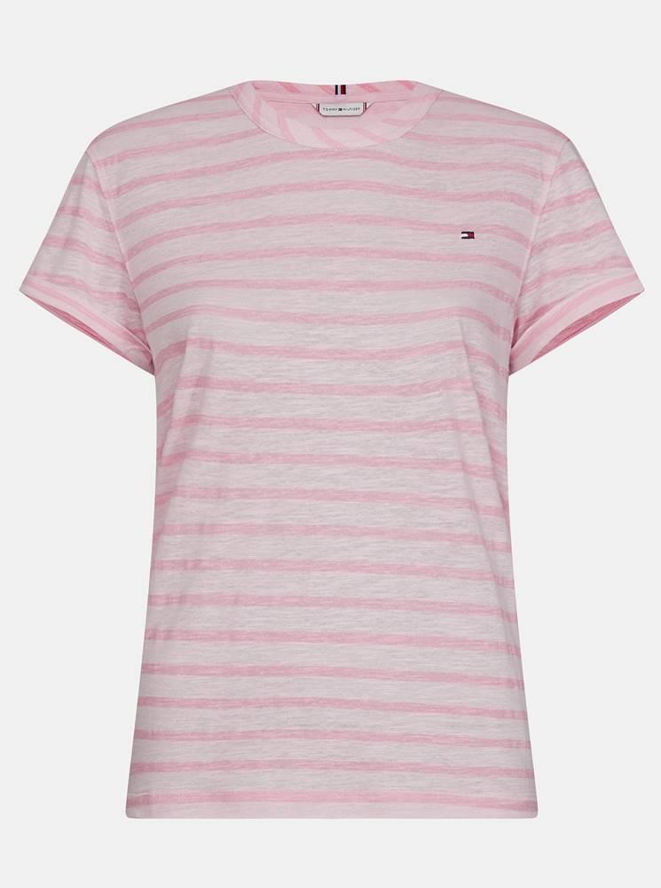 Tommy Hilfiger Ružové dámske pruhované ľanové tričko Tommy Hilfiger