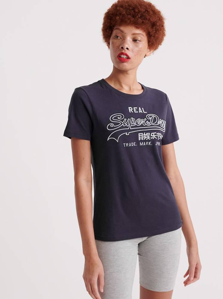 Superdry Tmavomodré dámske tričko s potlačou Superdry